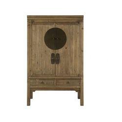 Szafa TRAPANO - 2 drzwi i 2 szuflady - dł.105 cm - Drewno wiązu - Naturalny