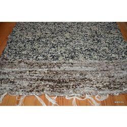 Chodnik bawełniany ręcznie tkany melaż czarno-ecru, końcówki brązowo-ecru 50x100 cm