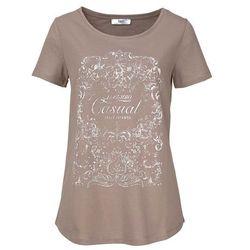 Shirt, krótki rękaw bonprix brunatny z nadrukiem