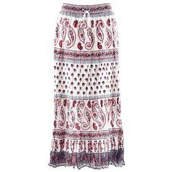 Długa spódnica bonprix biały z nadrukiem