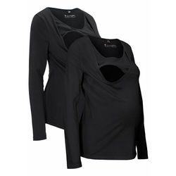 Shirt ciążowy i do karmienia piersią (2 szt.) bonprix czarny + czarny