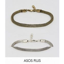 ASOS PLUS Mesh Chain Bracelet pack In Burnished Gold And Silver - Multi