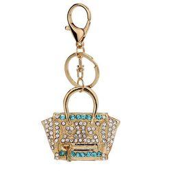Breloczek - torebka ze złotymi kryształkami
