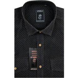 Koszula Męska Speed.A sztruksowa brązowa we wzory na długi rękaw D923
