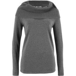 Sweter bawełniany z golfem, długi rękaw bonprix szary melanż