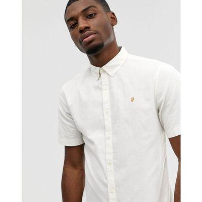 2b8d161c186abb Farah Steen slim fit short sleeve oxford marl shirt in Ecru - White
