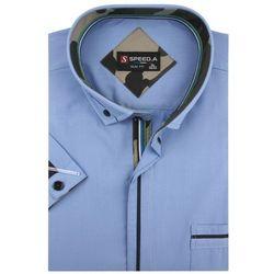 Koszula Męska Speed.A gładka niebieska SLIM FIT na krótki rękaw K642