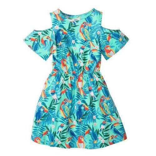 Sukienki dziecięce, Sukienka z wycięciami na ramionach bonprix miętowy z nadrukiem