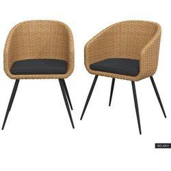 SELSEY Zestaw dwóch krzeseł ogrodowych Kencur jasny technorattan z czarnym siedziskiem