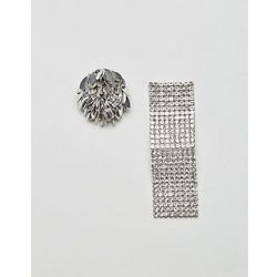 ASOS Statement Mismatch Petal and Wave Earrings - Silver