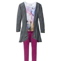 Shirt, kardigan + legginsy (3 części) bonprix biel wełny - dymny szary - fioletowy