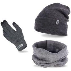 Komplet męski PaMaMi - czapka, komin i rękawiczki - Szary
