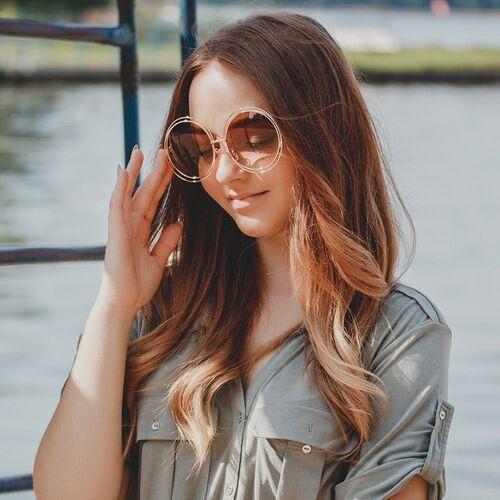 Okulary przeciwsłoneczne, Okulary damskie okrągłe przeciwsłoneczne muchy