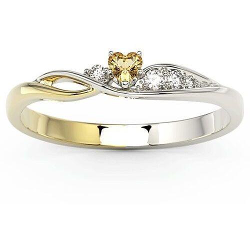 Pierścionki i obrączki, Pierścionek z białego i żółtego złota z topazem Swarovski Honey i brylantami BP-81BZ - Białe i żółte \ Diament ||Topaz Honey