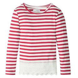 Shirt z długim rękawem w paski, z koronkowym dołem bonprix ciemnoczerwono-biel wełny w paski