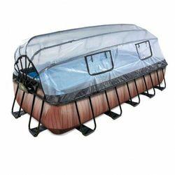 Basen Exit Wood brązowy prostokątny 540 x 250 cm składany dach drabinka pompa filtrująca