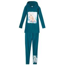 Długi shirt z kapturem + legginsy (2 części) bonprix niebiesko-zielony z nadrukiem