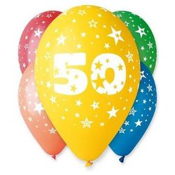 Balony pastelowe z nadrukiem 50 - mix - 30 cm - 5 szt.