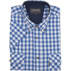 Błękitna koszula Dockland w kratkę, z krótkim rękawem