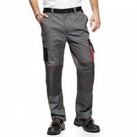 Kombinezony i spodnie robocze, Spodnie do pasa AVACORE LENNOX szaro czarne z czerwonymi elementami