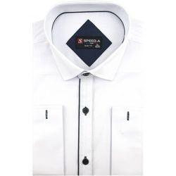 Koszula Męska Speed. A gładka biała SLIM FIT z mankietami na spinki D915