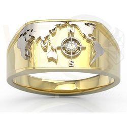 Sygnet Morski z żółtego i białego złota z brylantem SJ-1406ZB - Żółte i białe