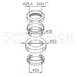 Łożysko główki ramy Buzzetti 5104110 Peugeot Tweet 150, SYM Orbit I 25