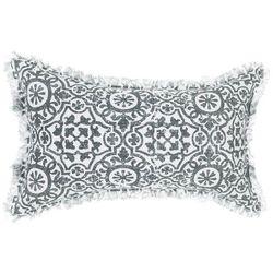Dekoracyjna poduszka, z orientalnym wzorem, wymiary 30 x 50 cm, zdejmowana poszewka, idealna do każdego wnętrz, kolor biało-szary
