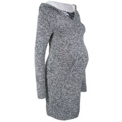 Sukienka dzianinowa ciążowa z kapturem z podszewką bonprix czarno-biały melanż