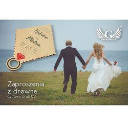 Zaproszenia ślubne z drewna - cyfrowy druk UV - ZAP010