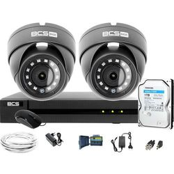 Monitoring Full HD BCS Basic Full HD 2MPx 1TB H265+ 2 x Kamera kopułkowa 2.8mm IR 30m
