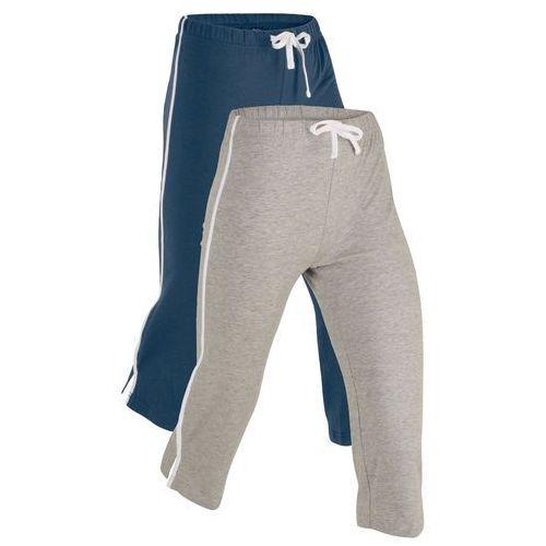 Pozostała odzież sportowa, Rybaczki sportowe ze stretchem (2 pary), dł. 3/4, Level 1 bonprix ciemnoniebieski + jasnoszary melanż