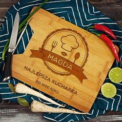 Najlepsza Kucharka - deska do krojenia z grawerem - Deska bambusowa