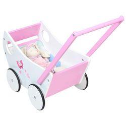 Drewniany wózek dla lalek chodzik pchacz dzieci 0+
