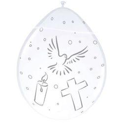 Balony z nadrukiem I Komunia Święta - białe - 30 cm - 8 szt.