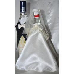 Ubranka na butelkę wódki-falbanka biała róża bordo
