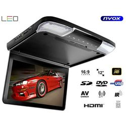 """Monitor samochodowy podwieszany podsufitowy LCD 12"""" cali DVD HDMI USB SD AV GRY"""
