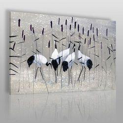 Żurawie nad rozlewiskiem - nowoczesny obraz na płótnie