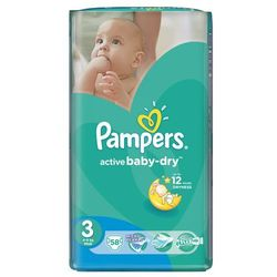 Pampers Pieluchy Active Baby Dry 3 Midi (58 szt.)