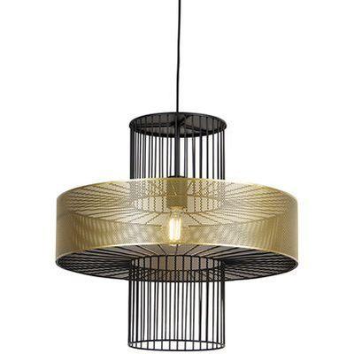Designerska lampa wisząca złota z czarnym 50 cm Tess