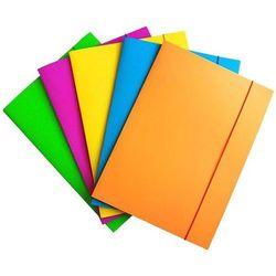 Teczka z gumką OFFICE PRODUCTS Fluo, karton/lakier, A4, 300gsm, 3-skrz., mix kolorów