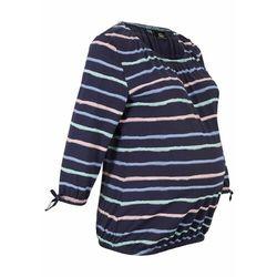 Shirt ciążowy z bawełny organicznej bonprix ciemnoniebieski w paski