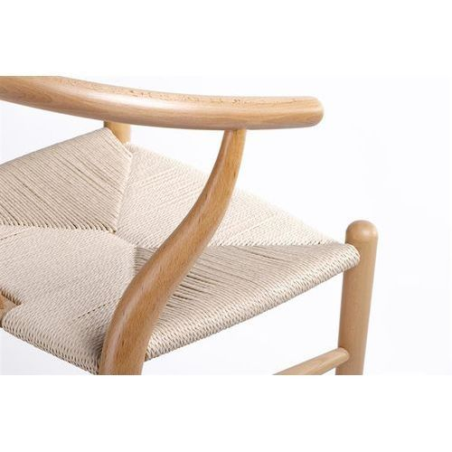 Hokery, Hoker WISHBONE natural - drewno bukowe, naturalne włókno