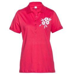 Shirt polo bonprix różowy hibiskus - biały