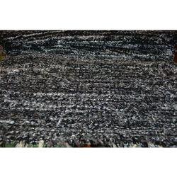 Chodnik bawełniany\pled ręcznie tkany czarno-szary z połyskującą nitką 65x120 cm