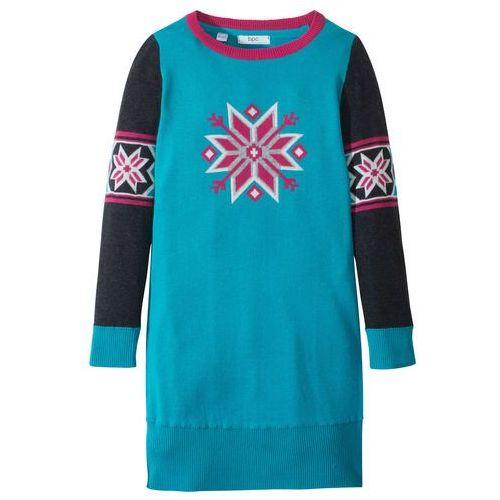 Sukienki dziecięce, Sukienka dzianinowa z motywem gwiazdy bonprix ciemnoturkusowo-jeżynowo-czerwony