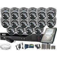 Pozostałe systemy alarmowe, ZM11958 Monitoring na duże powierzchnie 16 kamer BCS-DMQE1500IR3-G BCS-XVR16014KE-II 1TB