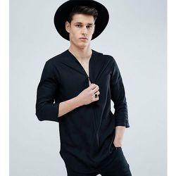 ASOS DESIGN Tall Regular Fit Longline Viscose Shirt In Black With V Neck - Black