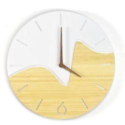 BAMBUSOWY Nowoczesny zegar NORD Oscillo