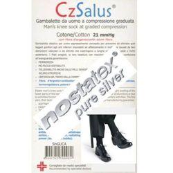 Podkolanówki męskie przeciwżylakowe z bawełną (60%) i SREBREM, I klasa kompresji, ucisk 21mmHg, SILVER - prod. CzSalus